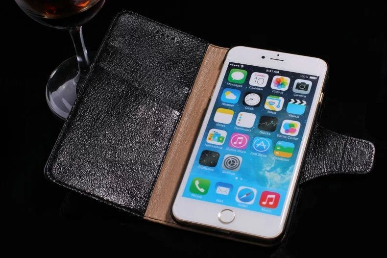 psb 1 3 - Real Leather Flip Case - iPhone 6/6S