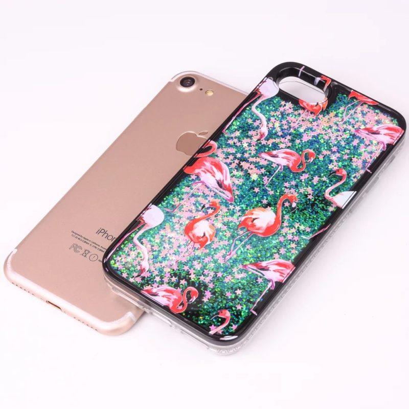 iPhone 7 Pink Flamingo Floating Stars3 - Flamingo Falling Stars - iPhone 6/6+/6S/6S+/7/7+